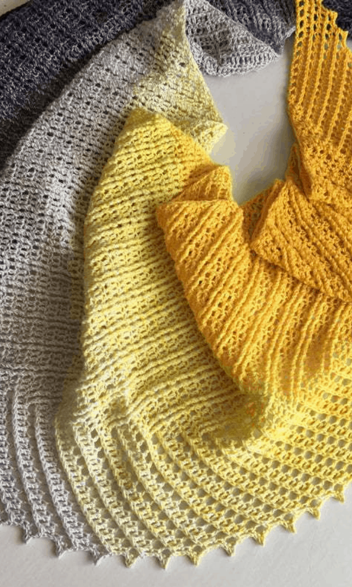 crochet yellow to grey ombre shawl
