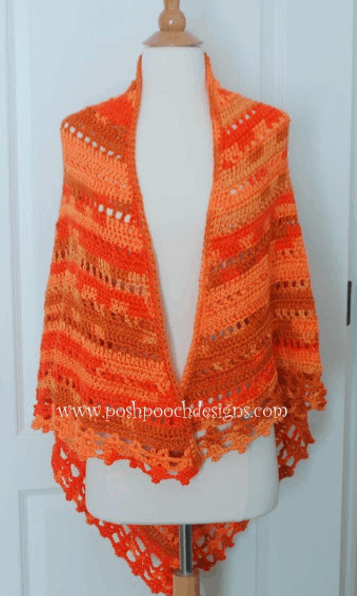 crochet orange shawl