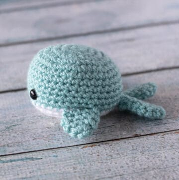 blue and white crochet whale