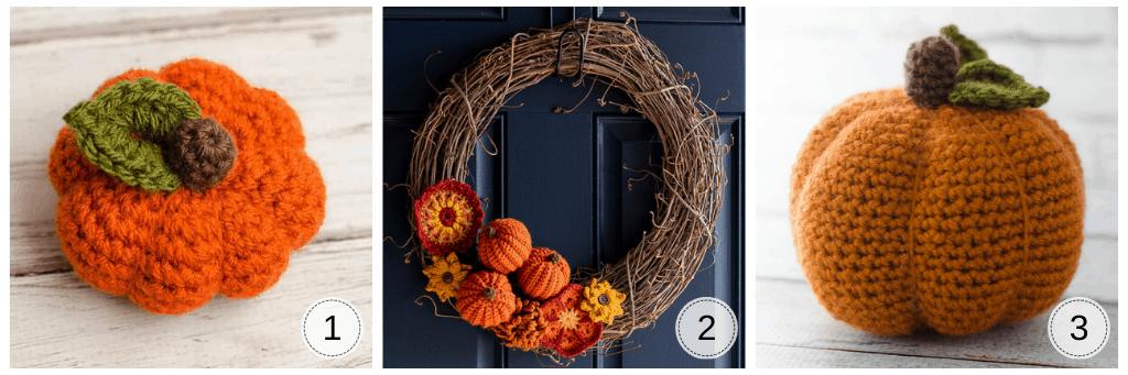 series of pumpkin crochet projects: small orange crochet pumpkin, wreath with pumpkins and flowers and large orange pumpkin