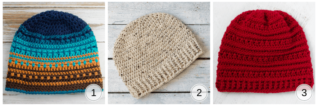 three crochet hats