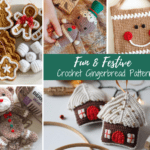 collage of crochet gingerbread projects
